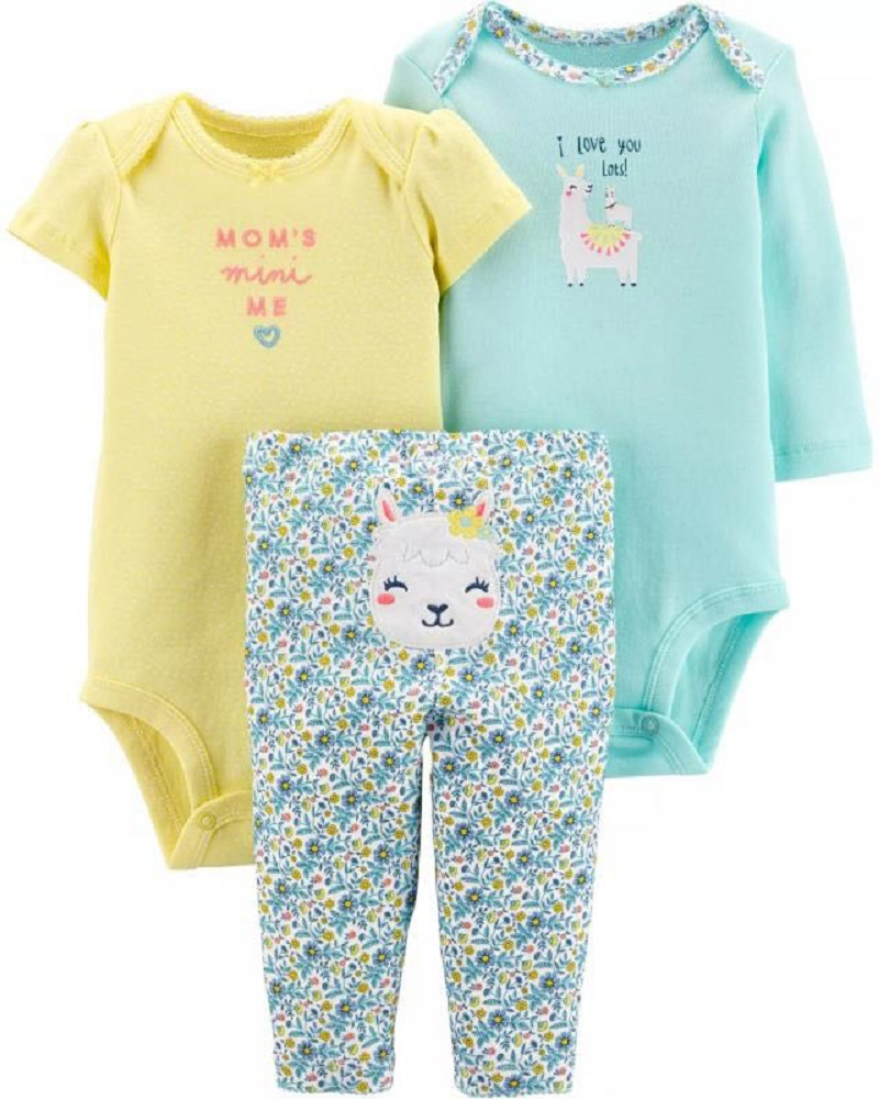 baby girl clothes set long sleeve cartoon romper+pant 2020 newborn boy clothing summer infant outfit cotton unisex