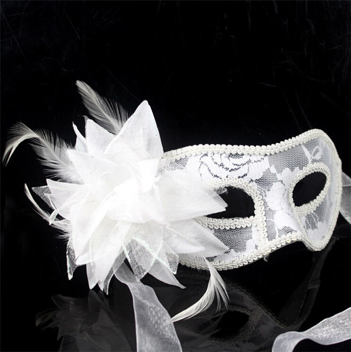 new sexy Black white red Women Feathered Venetian Masquerade Masks for a masked ball Lace Flower Masks D156