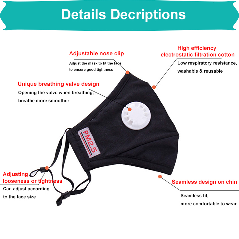 Hot Selling Reusable Unisex Cotton Face Masks With Breath Valve PM2.5 Mouth Mask Anti-Dust Fabric Mask Washable Mask With Filter