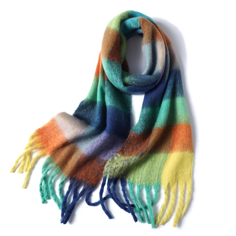 Para Mujeres Arco iris de imitación de lana de Cachemira Bufanda Borla Chal Envoltura De Invierno De Rayas Grueso