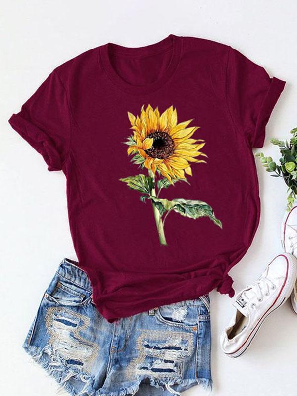 designer t shirt short sleeves tops clothes for women mens sunflower printed 2020 new designers crew neck cotton blend T-shirt