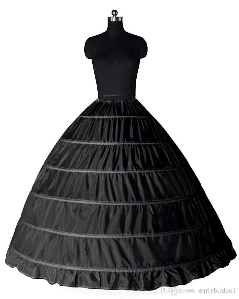 Super Cheap Ball Gown 6 Hoops Petticoat Wedding Slip Crinoline Bridal Underskirt Layes Slip 6 Hoop Skirt For Quinceanera Dress CPA206