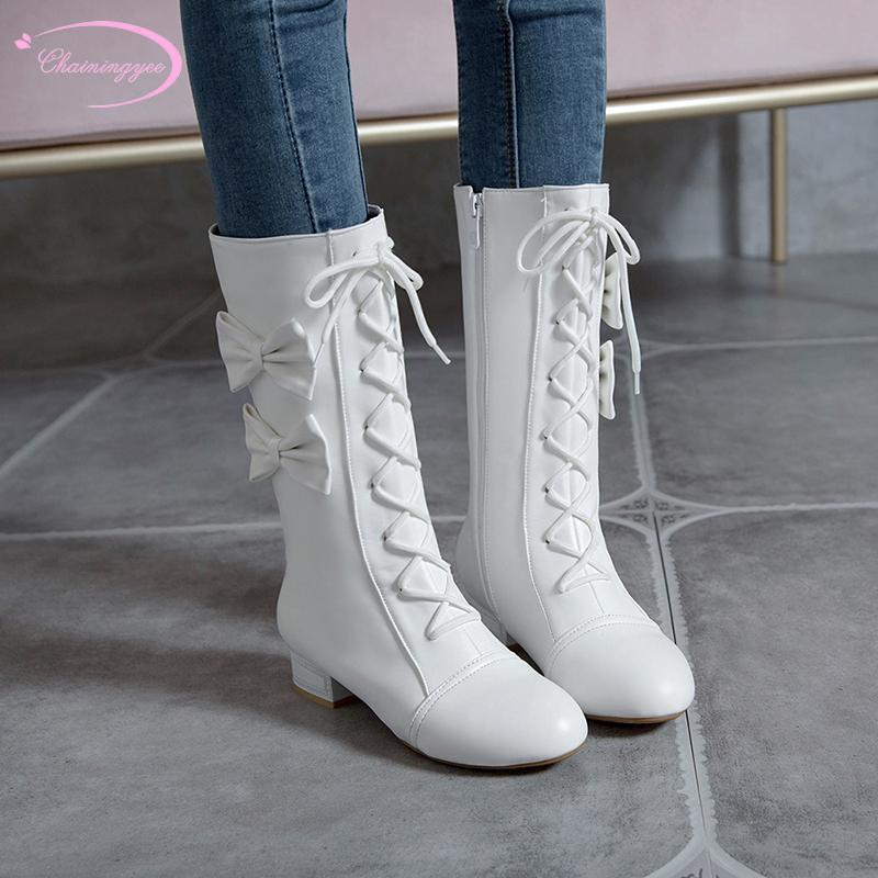 Girls Party Pearl Rhinestone Decor Lace Sweet Elegant Boots Back Zip Low Heel