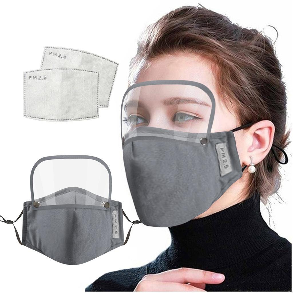 2 In 1 Face Mask With Eye Shield Dustproof Washable Cotton Valve Mask Cycling Reusable Face Mask with Protective Face Shield