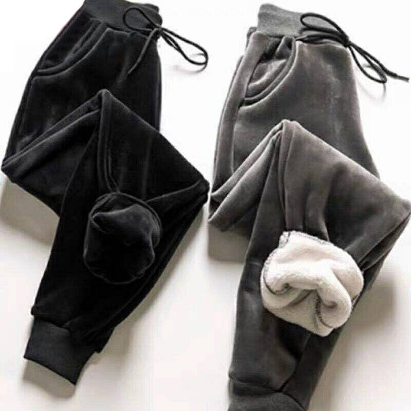 Winter Female Lamb Fur Slim Pants Women Casual Warm Cashmere Pants Lined Fleece Autumn Sweatpants Lady Harem Pants 201111