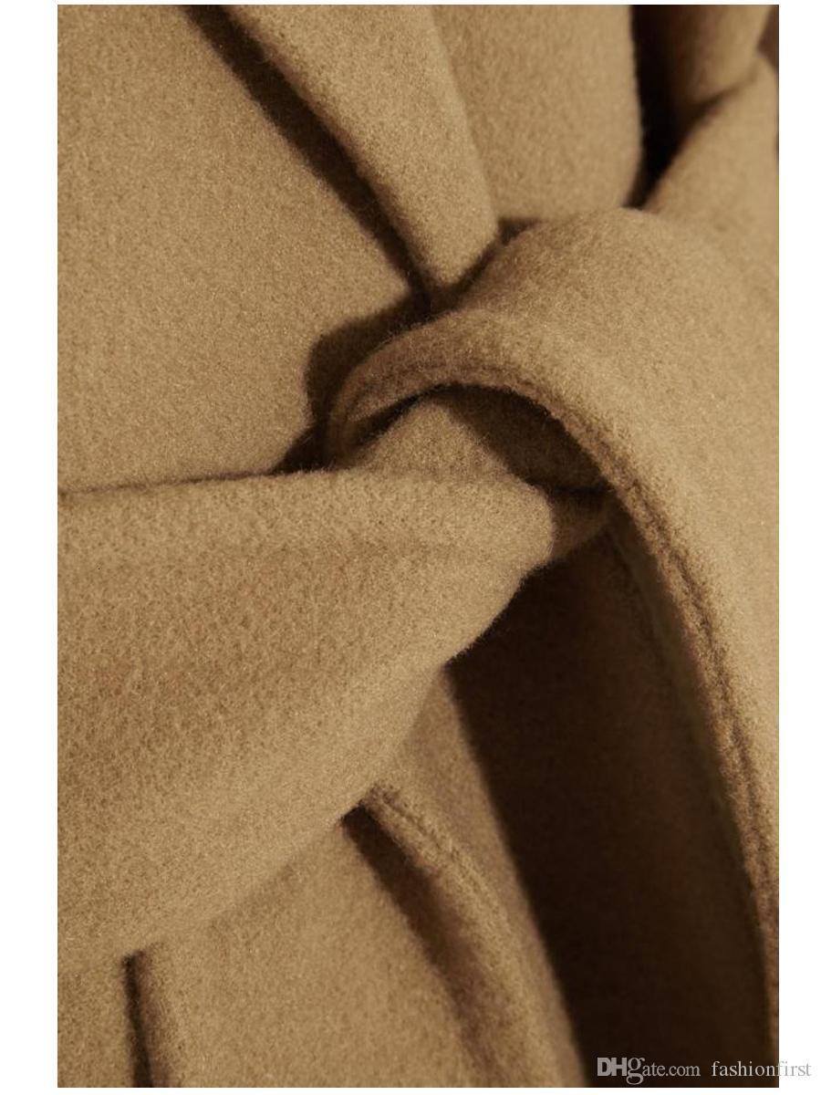 Lapel Neck Long Sleeve Women Outwear Long Coats with Belt Asymmetrical Split Fashion Winter Warm High Quality Cashmere Wool Ladies Coat