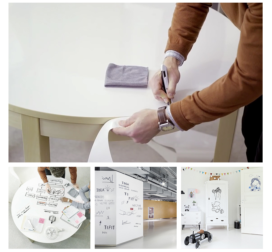 930_10 DIY Whiteboard Sticker Dry Erase Self-adhesive White Board Removable Drawing Writing Message Board For Office School Home
