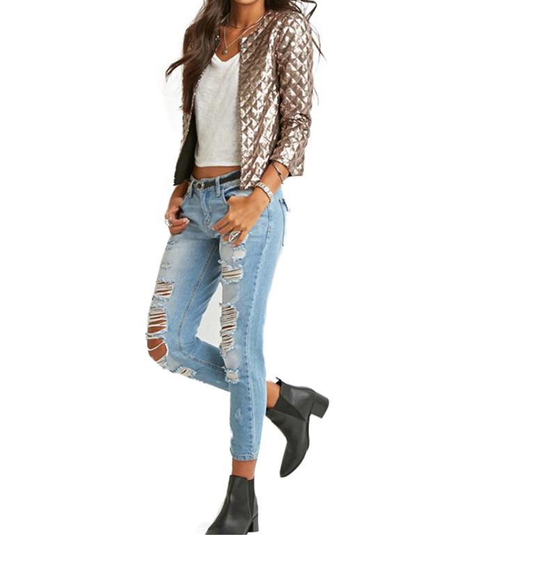 new European and American women golden brown jacket rhombus full sequins jacket wild self-cultivation sleeves short jacket (3)