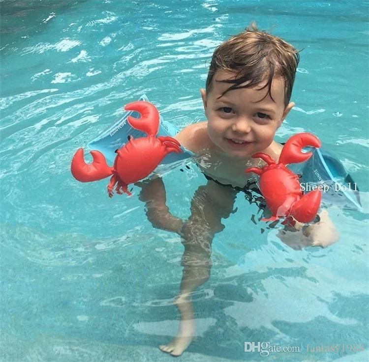 Kids Inflatable Arm Band Swimming Armlet Flamingo Crab Baby Swim Rings Safty Assistive Tools Inflatable Float Swim Arm Ring