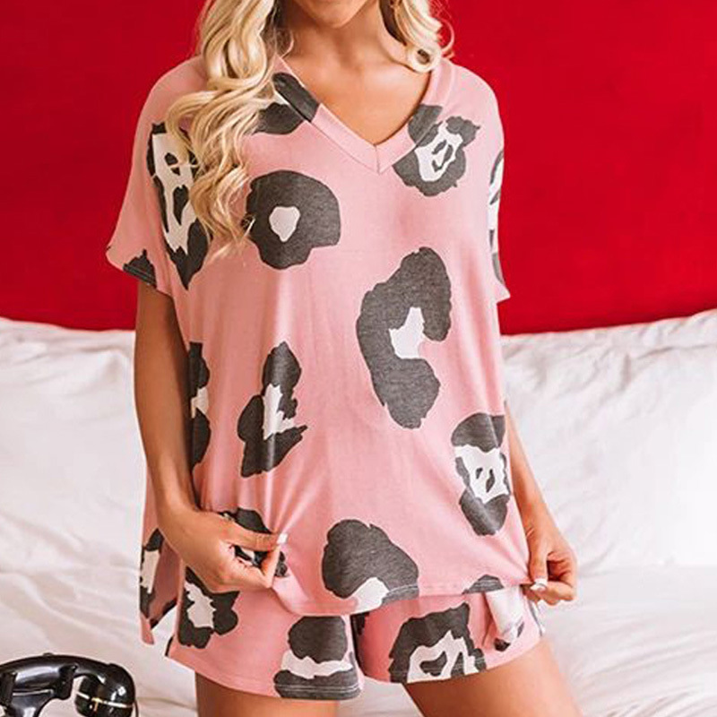 2020 New pijamas women sleepwear women home wear clothes comfortable nightgown top and pants Cute summer short sleeve pajama set (6)