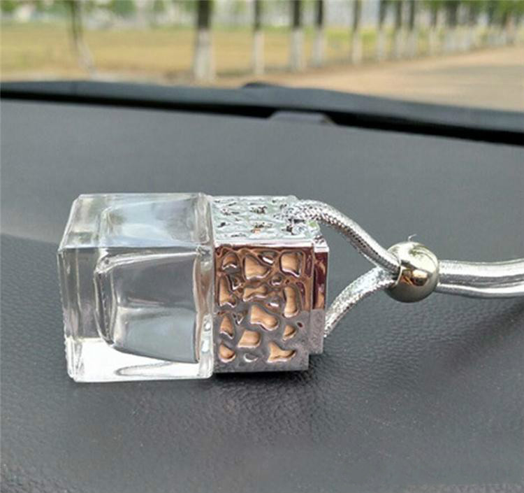Car Perfume Bottle Cube Car Hanging Perfume Rearview Ornament Air Freshener For Essential Oils Diffuser Fragrance Empty Glass Bottle
