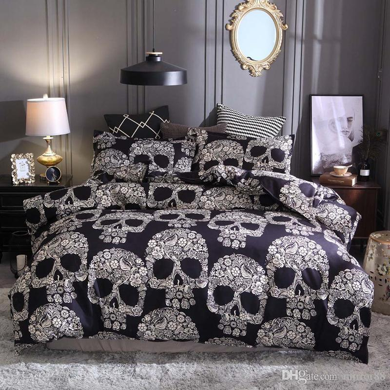 2/Black Duvet Cover Queen Size Luxury Sugar Skull Printed Bedding Set King Size 3D Skull Beddings Pillowcase and Bed Sets