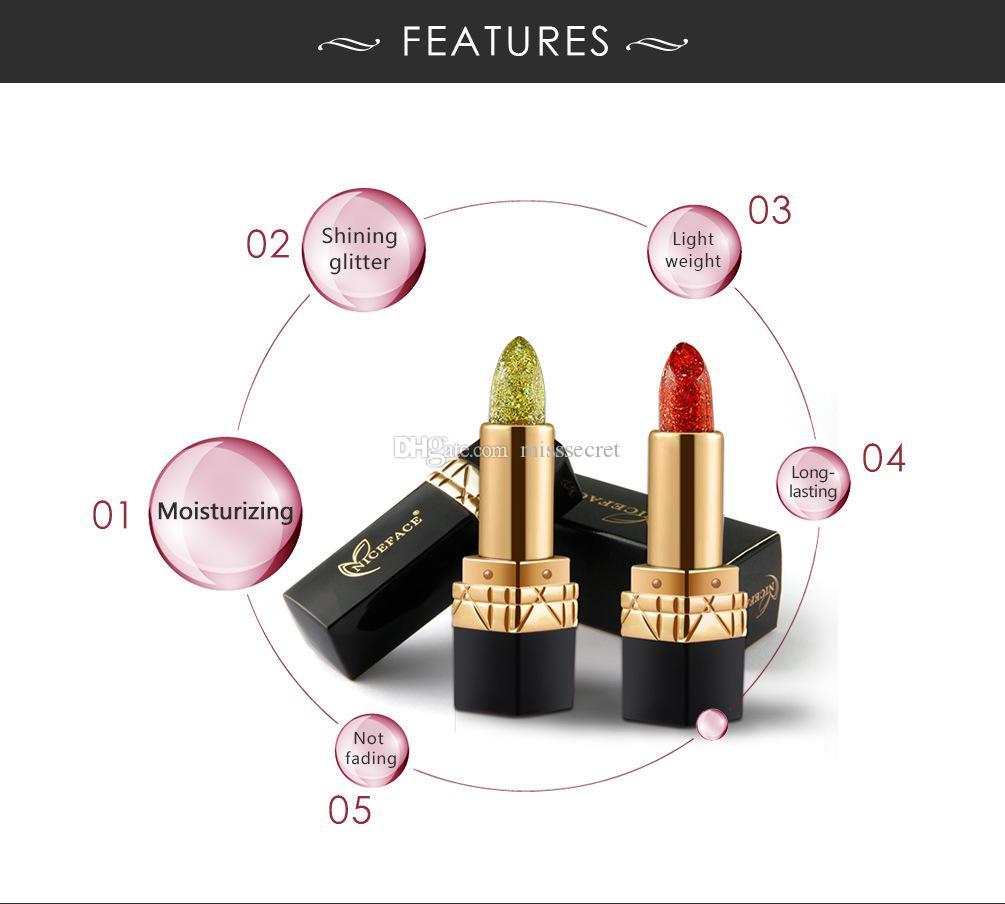 NICEFACE Diamond Lipstick Magic Temperature color lipstick Long Lasting Waterproof lipsticks Glitter Lip Makup Cream