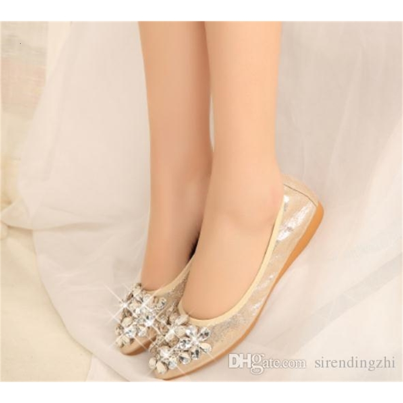 Free send autumn water drill pointed end flat bottom Women's Shoes