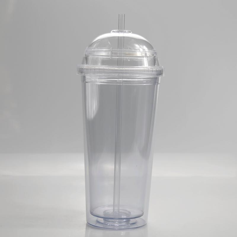 20oz Clear Acrylic Tumbler with Straw Lid Double Wall water Bottle Leakage-proof Plastic Sippy Cup Outdoor Water Mugs A05