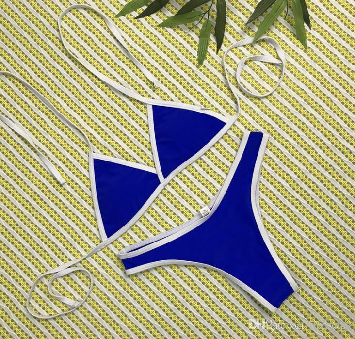 Sexy Fashion Solid Color Bikini Women Nylon Triangle Split Swimwear Summer Beach Backless Swimsuit Bikini S-XL