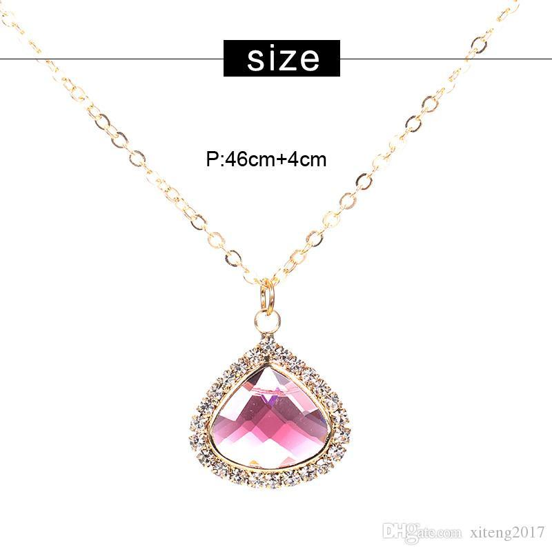 New Arrivals Crystal Pendant Chram Necklace for Women Gold Chain Round Multi Color Irregular Geometry Glass Necklace Fashion Jewelry