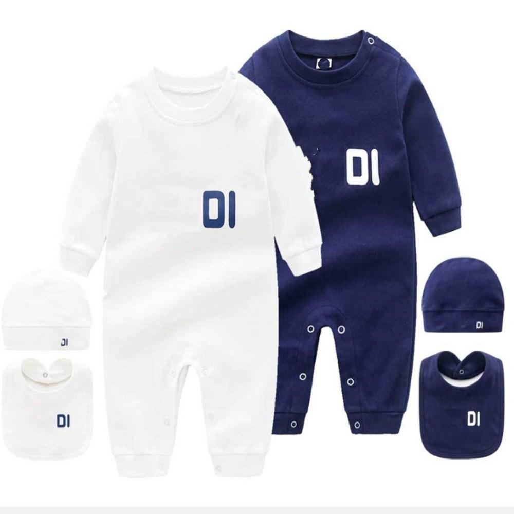 Infant 3 Set Hat Bib Jumpsuit Kids Clothes Girls Boys Letter Clothes Newborn Baby Rompers Toddler Clothes