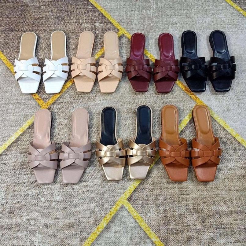 Fashion Women Sandals slides Summer Flats Sexy real leather platform sandals Flats Shoes Ladies Beach shoes sh008 Y02