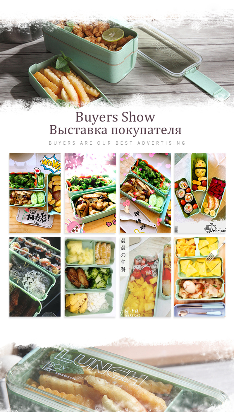 TUUTH 3 Layer 900ml Lunch Box Wheat Straw Fruit Salad Rice Bento Boxe Microwave Food Storage Container for School Office Fitness B1
