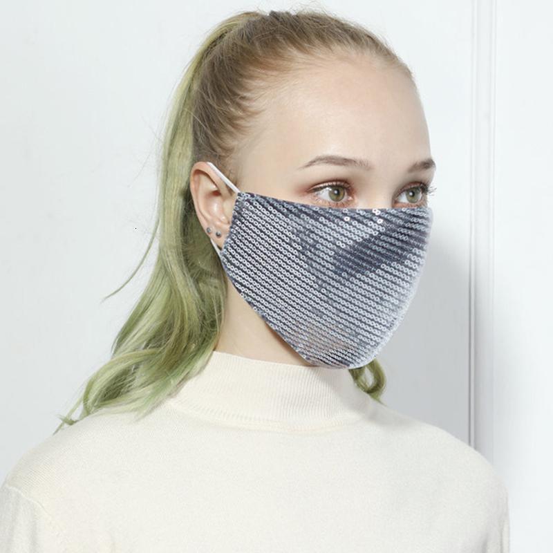 Sequins designer blue silk Bling 3D Washable Reusable Mask PM2.5 Face Care Shield Sun Color Gold Elbow Shiny Face Cover Masks luxury