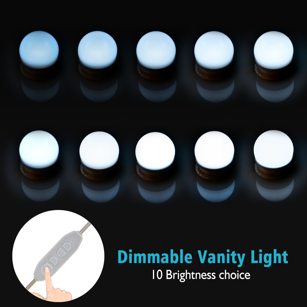 Makeup Mirror Vanity LED Light Bulb Hollywood Dimmable Mirror Light Makeup Vanity Table Set for Dressing Room Without Mirror (6)