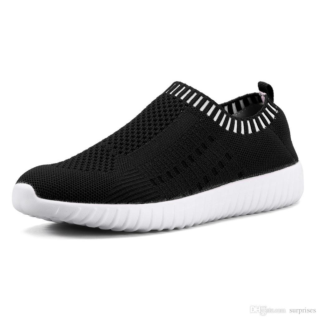 Best selling large size women's shoes flying woven sneakers one foot breathable lightweight casual sports shoes running shoes one