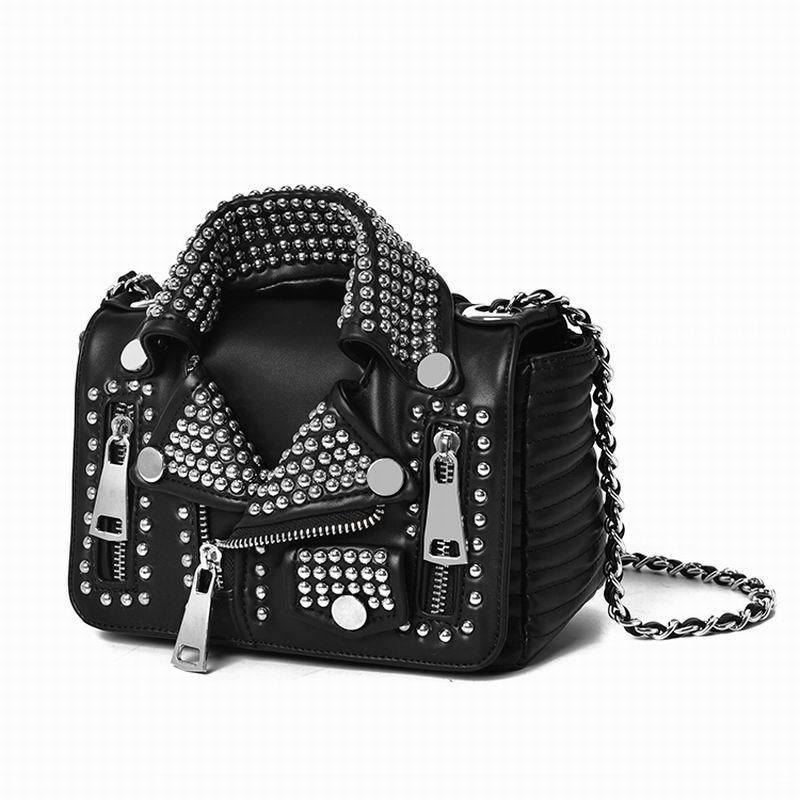 Luxury Designers Women Leather Bags Handicraft Rivet Jacket Punk Style Messenger Bags Girls Femme Shoulder Crossbody Bag