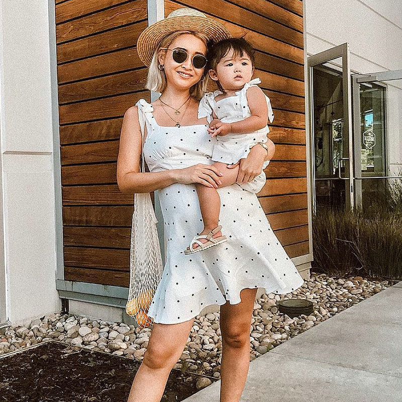 Family Look Matching Clothing Cotton Sleeveless Dot Women Girls Dress Mother Daughter Dress Mom And Daughter Dresses Clothes (8)