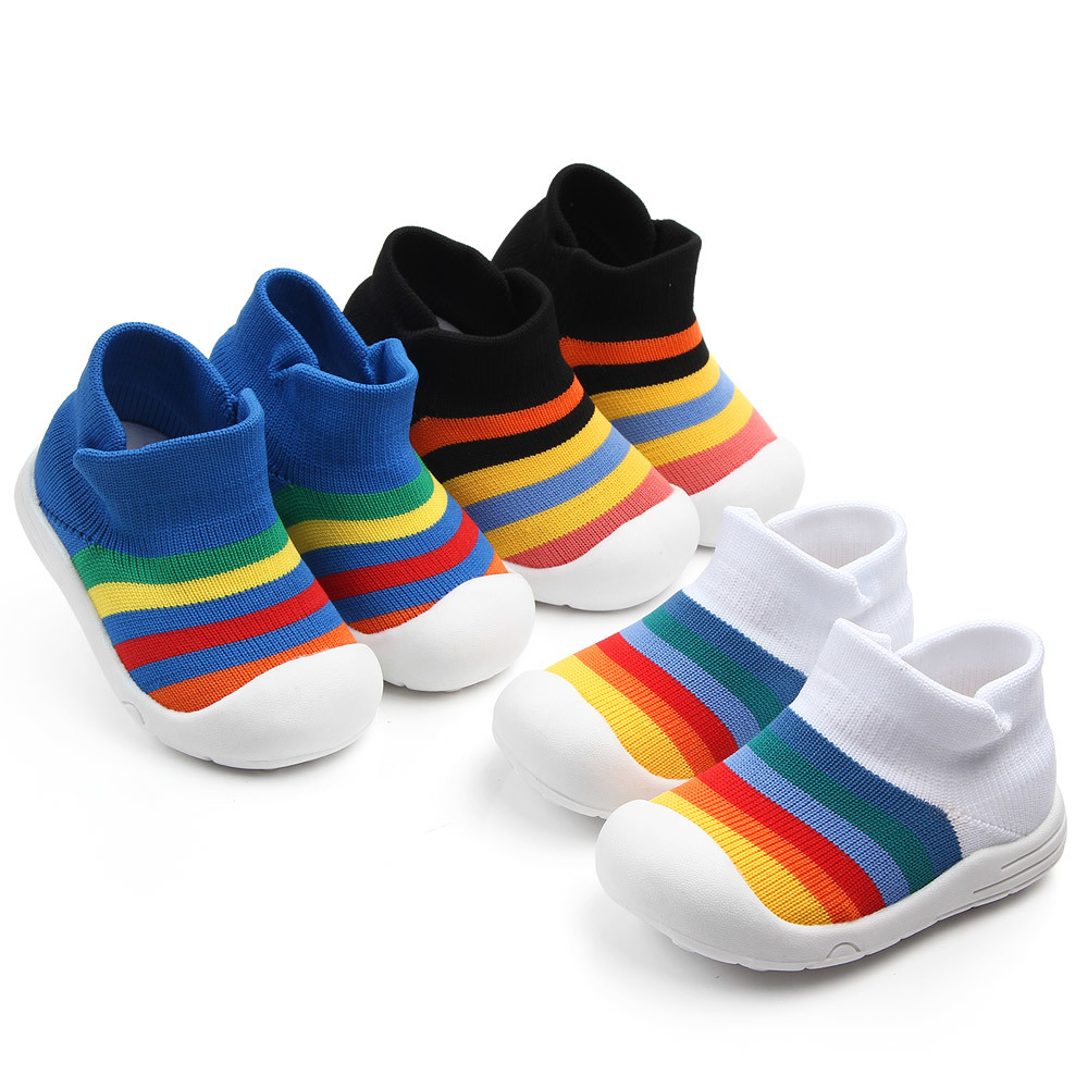baby boy girl soft sole crib shoes infant rainbow anti-slip breathable sports shoes flying woven