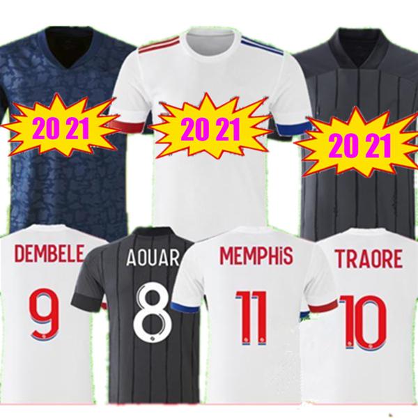 LYON Soccer Jersey 20 21 MEMPHIS TRAORE FEKIR MEMPHIS TRAORE FEKIR 2020 2021 OL Football Shirt maillot de foot Men Kids Jersey