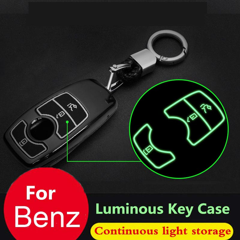 Key case cover keychain for Mercedes Benz AMG A B C E S R M G ML R S SL SLK SLR Class Accessories fob Shell Key Soft TPU Green bag Carbon Fiber Pattern