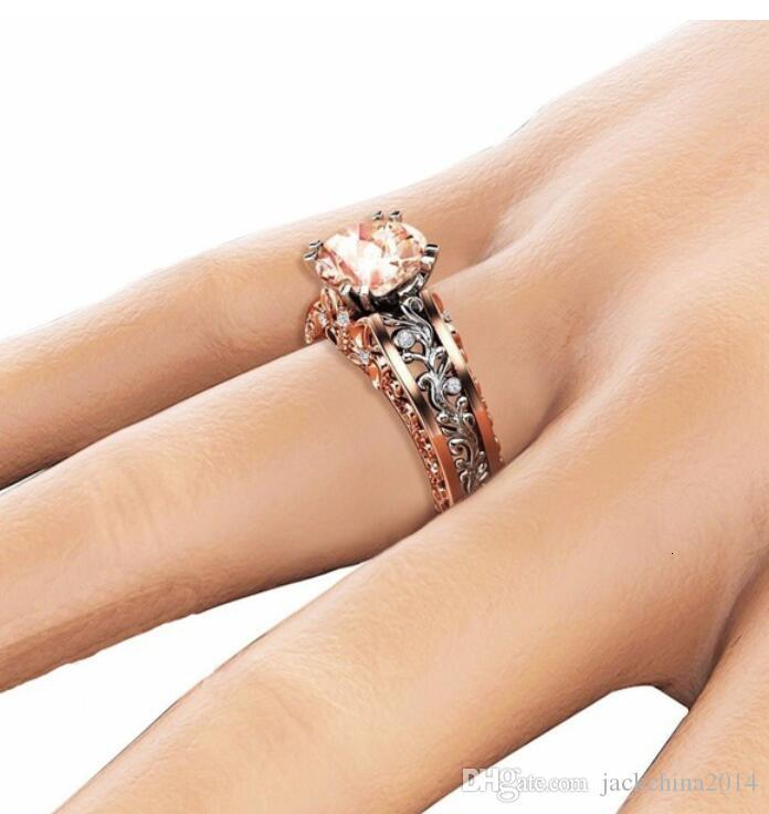 Double Gold Filled Luxury Jewelry 14KT White&Rose Gold Round Cut Big Multi Color Topaz CZ Diamond Pave Party Women Wedding Band Ring Gift