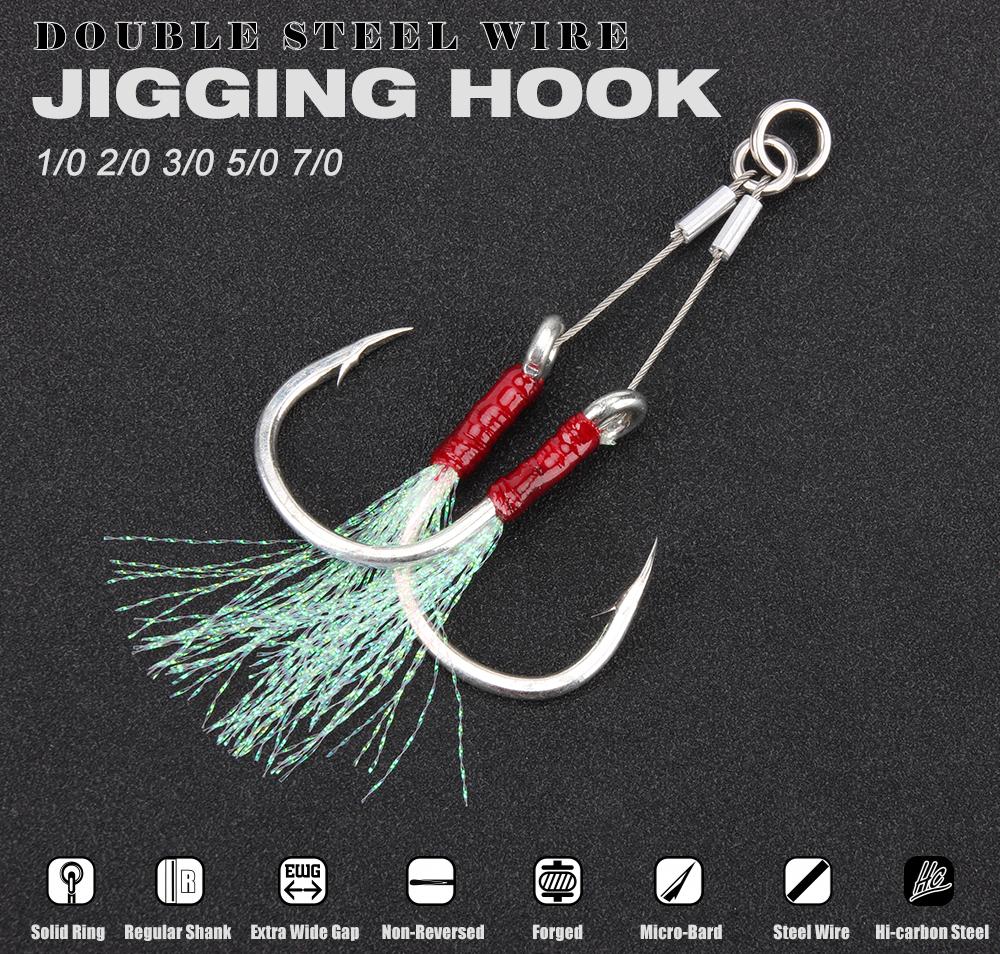 RoseWood Double Steel Wire Jigging Hook Glow Saltwater Fishhook Sea Hooks Boat Fishing Tackle 10 20 30 50 70 assist Hooks (2)