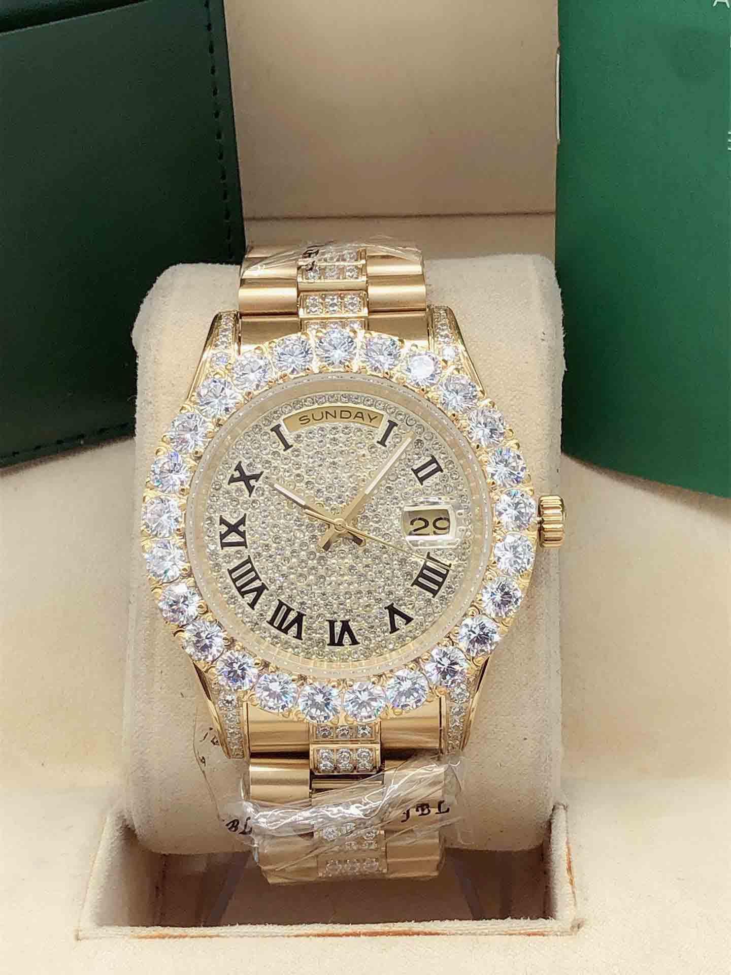 fashion 43mm Men's Iced Diamond Watch Four Corner Diamond Middle Row Diamond Strap Automatic Mechanical Wristwatch Diamone face