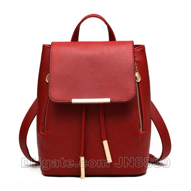 Hot Sale Women Backpack High Quality PU Leather Mochila Escolar School Bags For Teenagers Girls Top-handle Backpacks