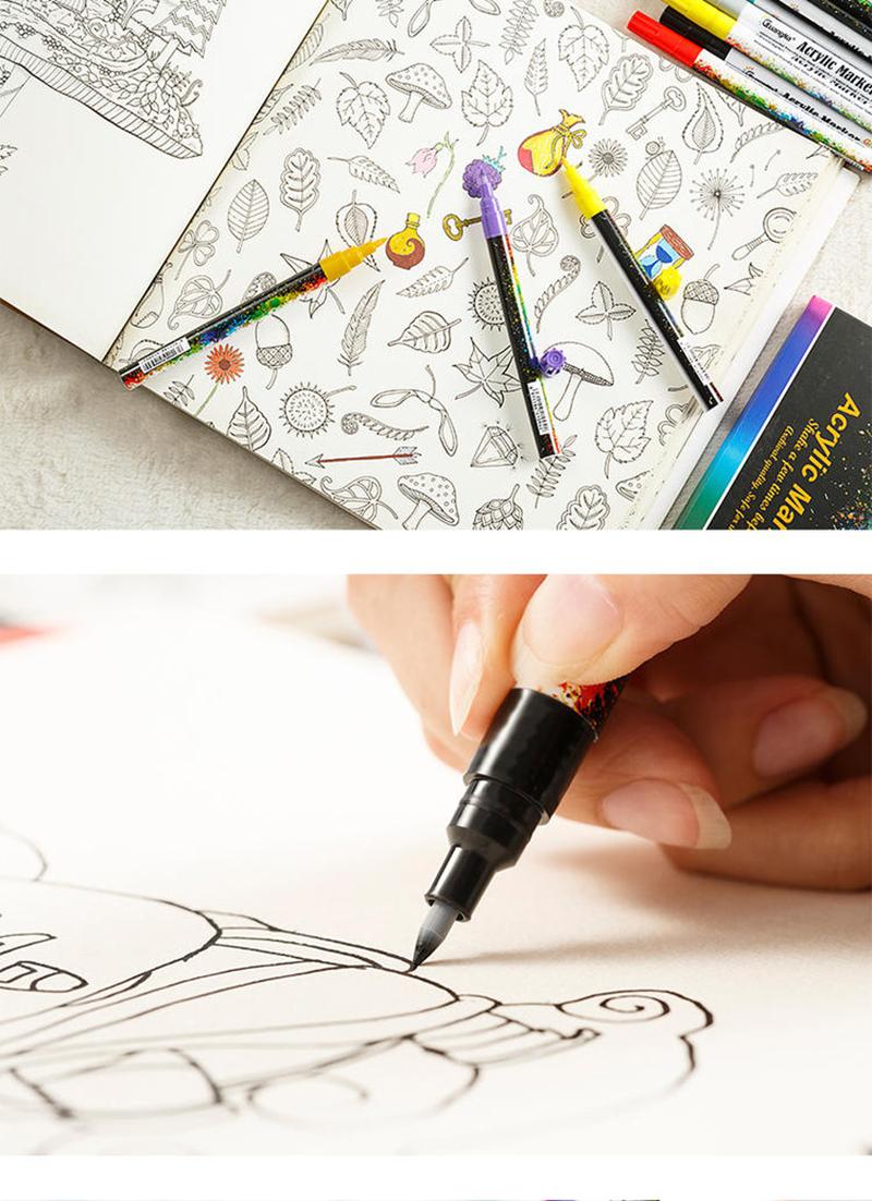 18 ColorsSet 0.7mm Acrylic Paint Marker pen for Ceramic Rock Glass Porcelain Mug Wood Fabric Canvas Painting Detailed Marking (46)