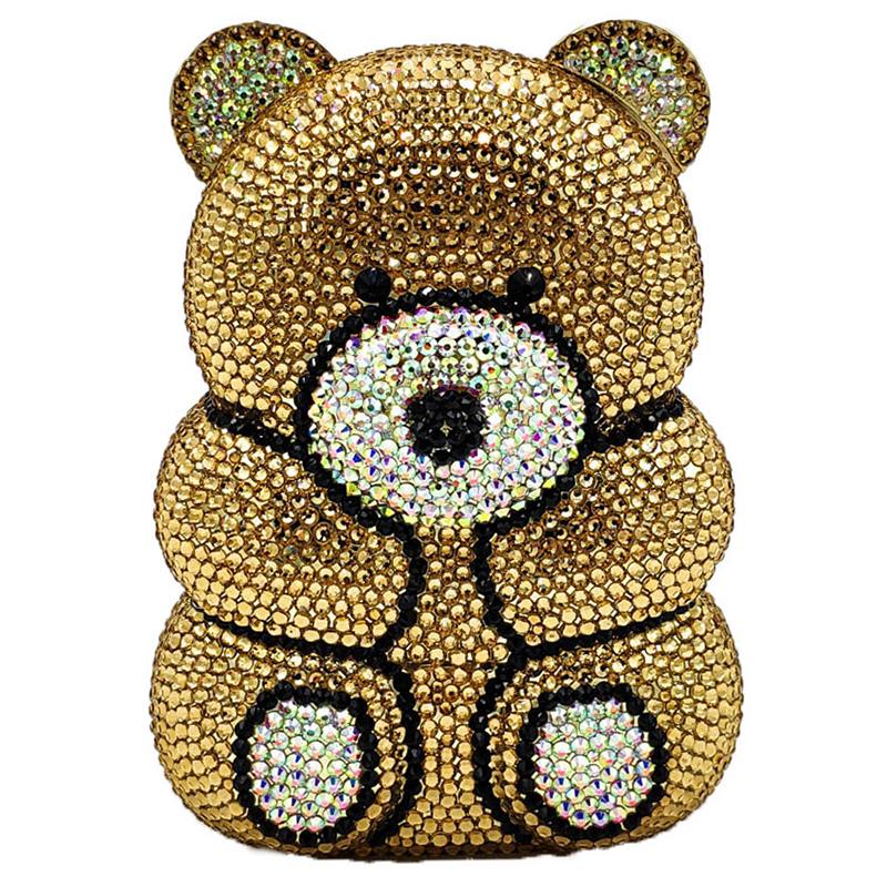 Bag for Women 2020 3D Bear Teddy Shape Women Silver Gold Crystal AB Evening Clutch Handbags and Purses Diamond Wedding Party Bag