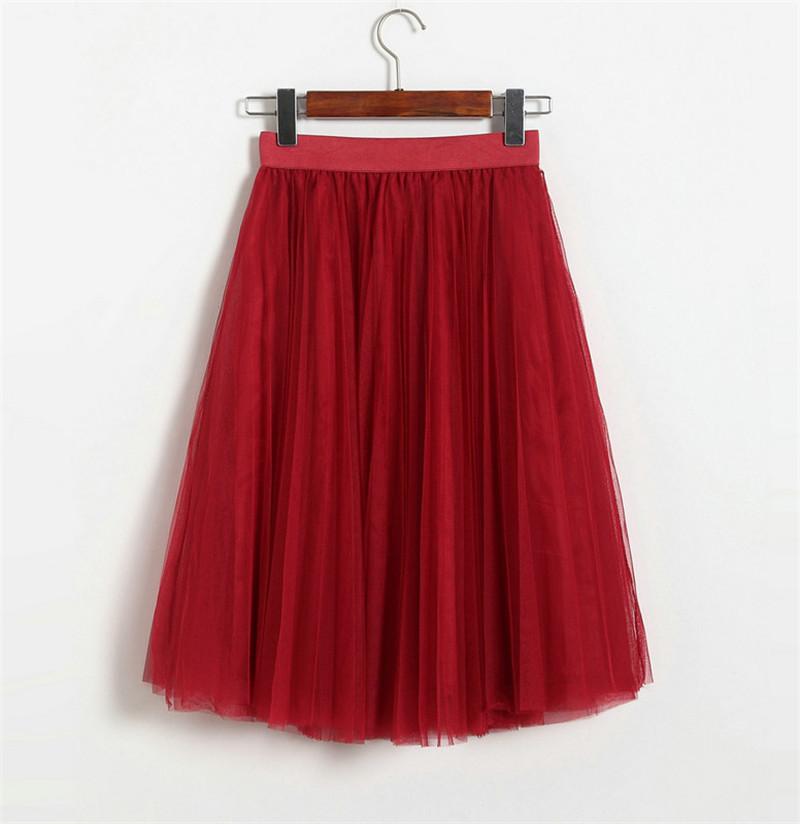 Vintage Women Tulle Skirt 2020 Autumn Elastic High Waist Mesh Skirts Long Pleated Tutu Skirt Female Jupe Longue JX8042 (13)