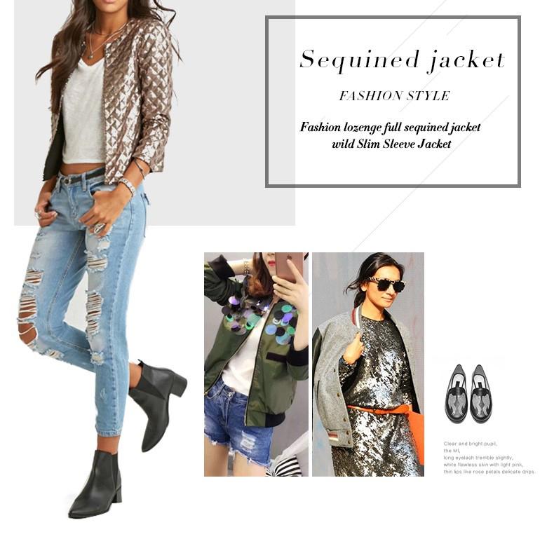 new European and American women golden brown jacket rhombus full sequins jacket wild self-cultivation sleeves short jacket (7)