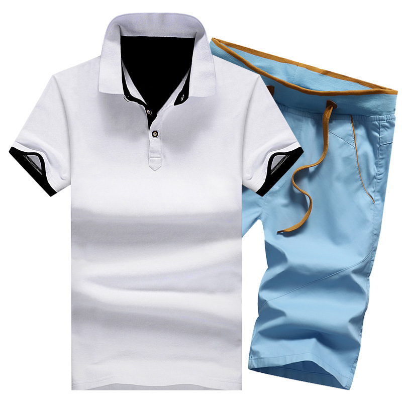 Male-Solid-Fitness-Sets-Button-Turn-Down-Summer-Shirts-Moletom-Cotton-Mens-Shorts-Knee-Length-Clothes (2)
