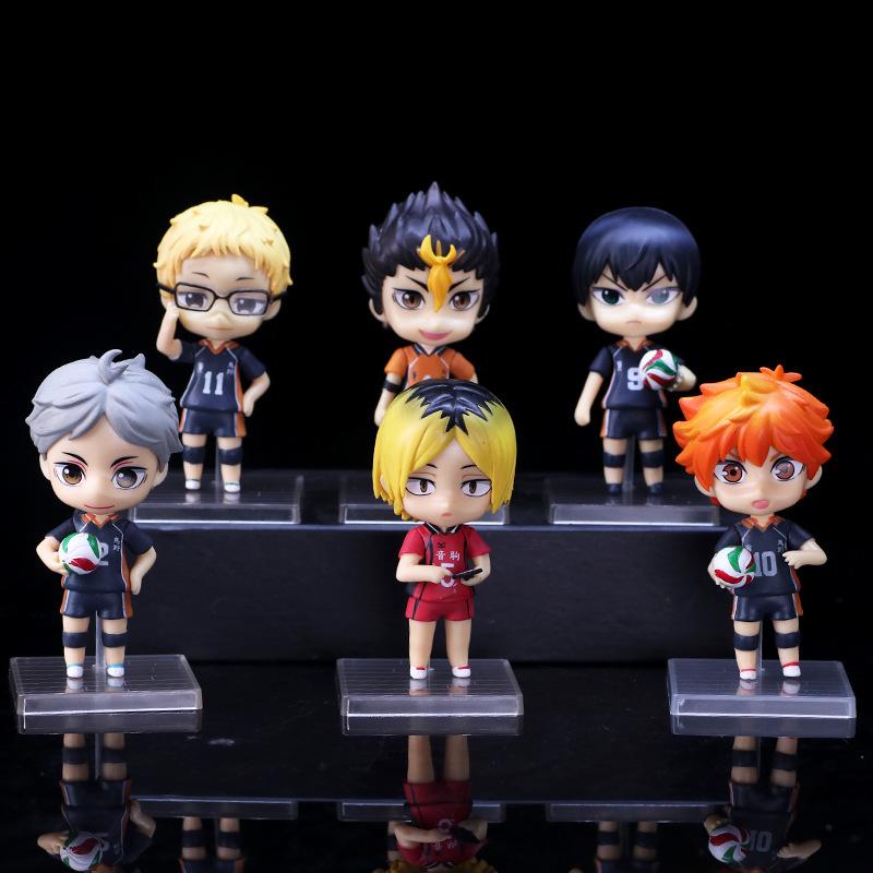 6pcs/set Haikyuu Cute PVC Anime Figure Toys Hinata Shoyo Tobio Kenma Tooru Yuu Kei Model Nekoma Action Figma Sport Doll Juguetes