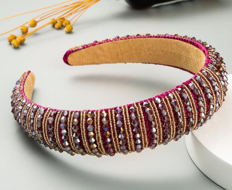 New Women's Full Crystal Rhinestone Sponge Embellished Padded Headband Girl Handmade beaded Hairband Jewelled Hair Accessories
