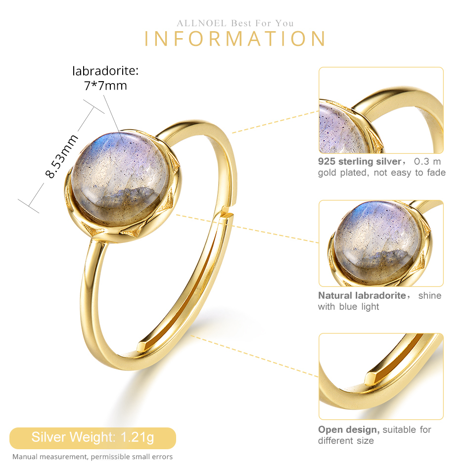 ALLNOEL Real 925 Sterling Silver Rings For Women 7mm Natural Labradorite Ring S925 Fine Jewelry For Women Gift On 2019 March 8 (1)