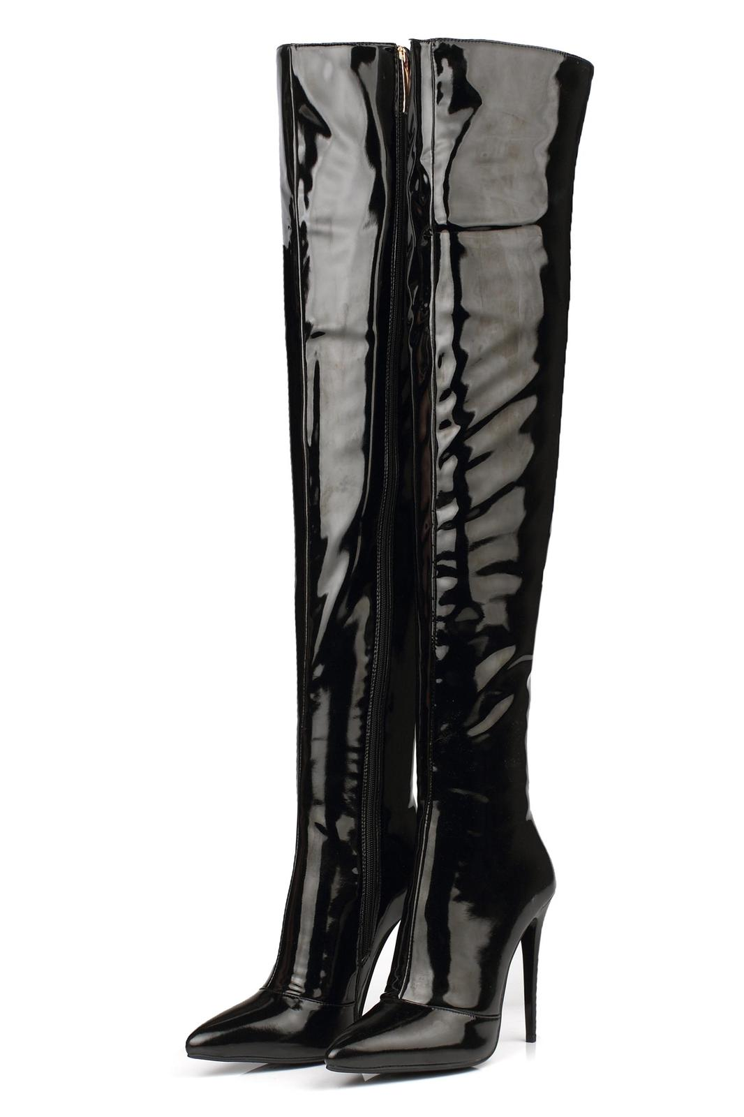spring autumn winter Thigh-High boots for women over-the-knee patent leather plus size high heels 12cm white zipper red boots Stiletto heel