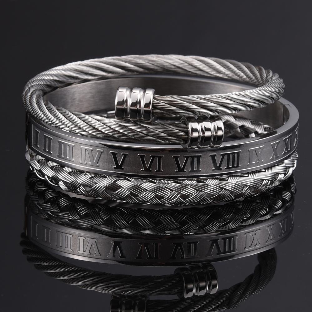 2021 beautiful 3pcs/Set Roman Numeral Men Bracelet Handmade Stainless Steel Hemp Rope Buckle Open Bangles Pulseira Bileklik Luxury Jewelry