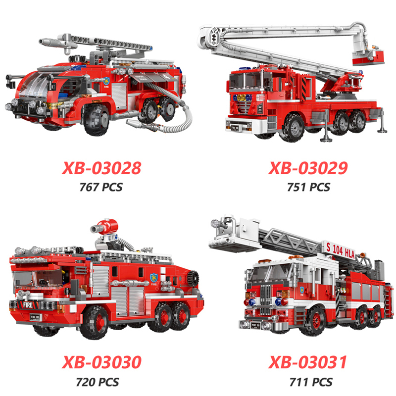 XINGBAO-03028-03029-03030-03031-NEW-City-Fire-Fighting-Truck-Series-4-Styles-Fire-Engine-Sets