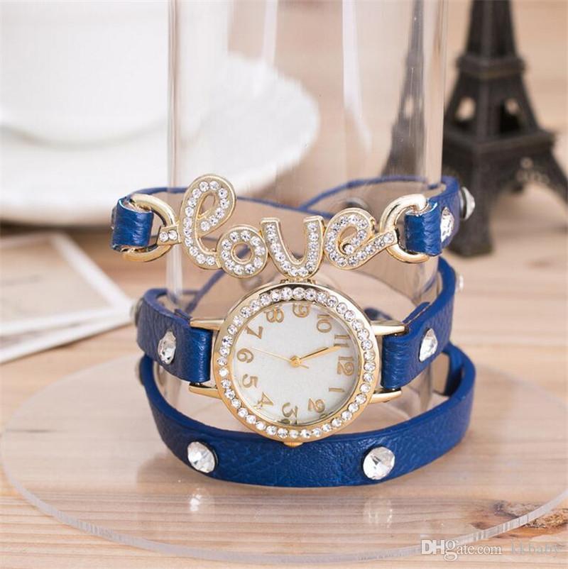 Genuine Cow Leather Strape Punk Fashion Vintage Women Watch Crystal LOVE Pendant Ladies Dress Watches Love Wrap PU Bracelets Watches