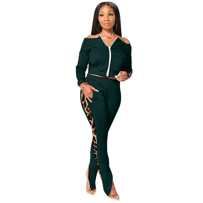 womens jacket legging set outfits long sleeve tracksuit jacket pants sportswear panelled outerwear tights sports set hot klw5365