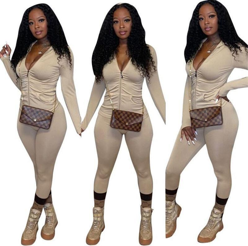 womens long sleeve sportswear jacket pants tracksuit hoodie legging set sports suit outerwear tights outfits sweat suit hot klw5288